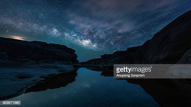 Three thousand waving the rocks beneath the Mekong river and milky way