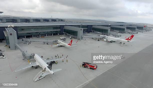 Three THY planes are seen as the final operational trial is carried out with three thousand personnels at the new Istanbul Airport which will be...