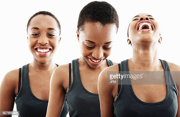 Three time multi exposure of young woman smiling and laughing