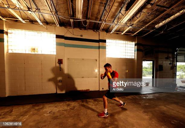 Three time New York Golden Gloves boxer Anthony Lopez shadowboxes during a final boxing workout at Jetty gym on July 30 2020 in Oceanside New York...