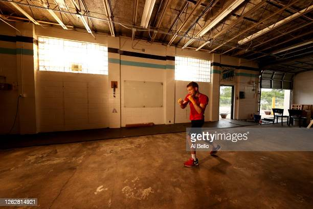 Three time New York Golden Gloves boxer Anthony Lopez shadowboxes during a final boxing workout at Jetty gym on July 30, 2020 in Oceanside, New York....