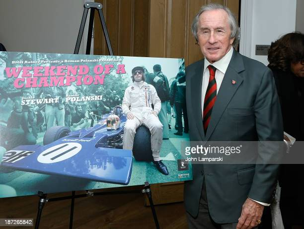 """Three time World Champion Formula Car Driver Sir John Young """"Jackie"""" Stewart attends the """"Weekend Of A Champion"""" Press Conference at Crosby Street..."""