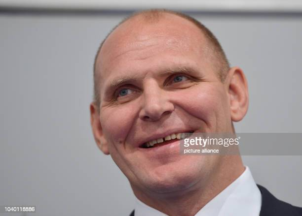 Three times Olympic gold medalist Alexander Karelin from Russia smiles during a press conference of the International Federation of Associated...