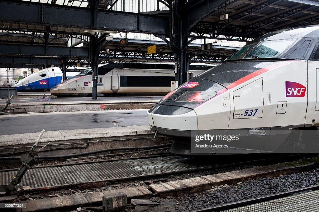 Three trains TGV from SNCF company wait at Paris Gare de l'Est Train Station, Paris, France on May 31, 2016.