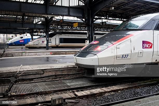 Three trains TGV from SNCF company wait at Paris Gare de l'Est Train Station Paris France on May 31 2016