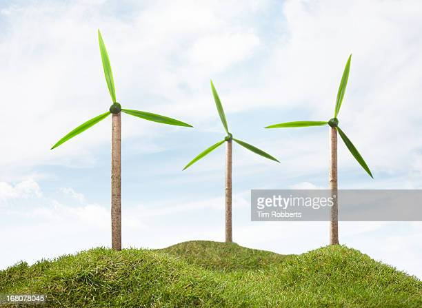 three tree wind turbines. - 少数の物 ストックフォトと画像