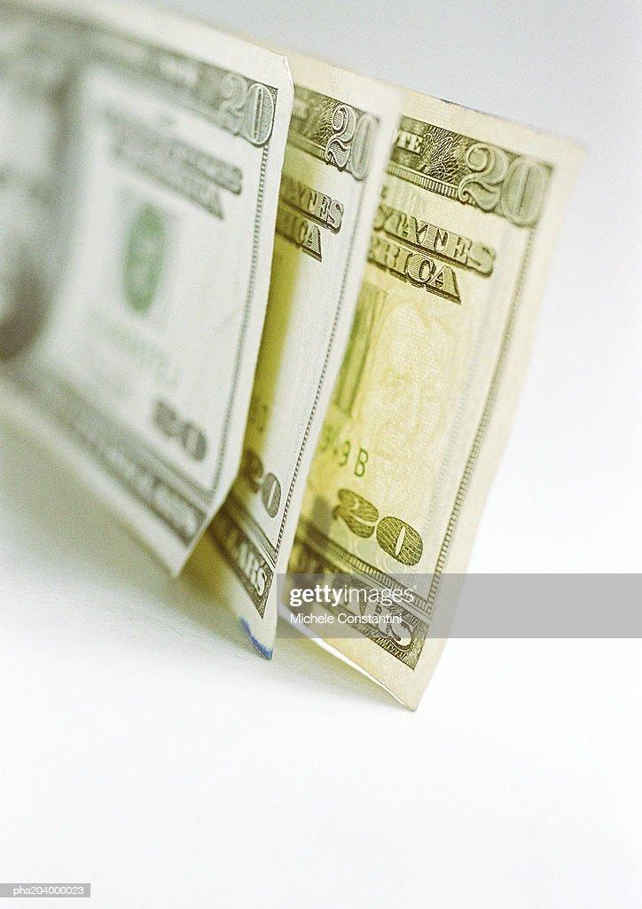 Three, twenty dollar bills. : Stockfoto