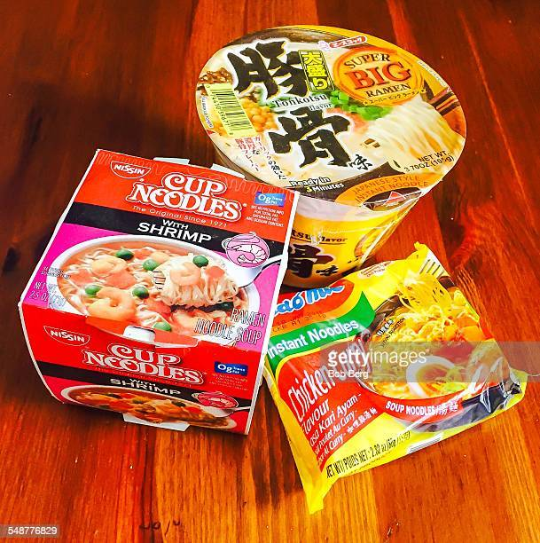 Santa Monica Ca April 9 2015 Three types of instant noodle dishes my kids demand