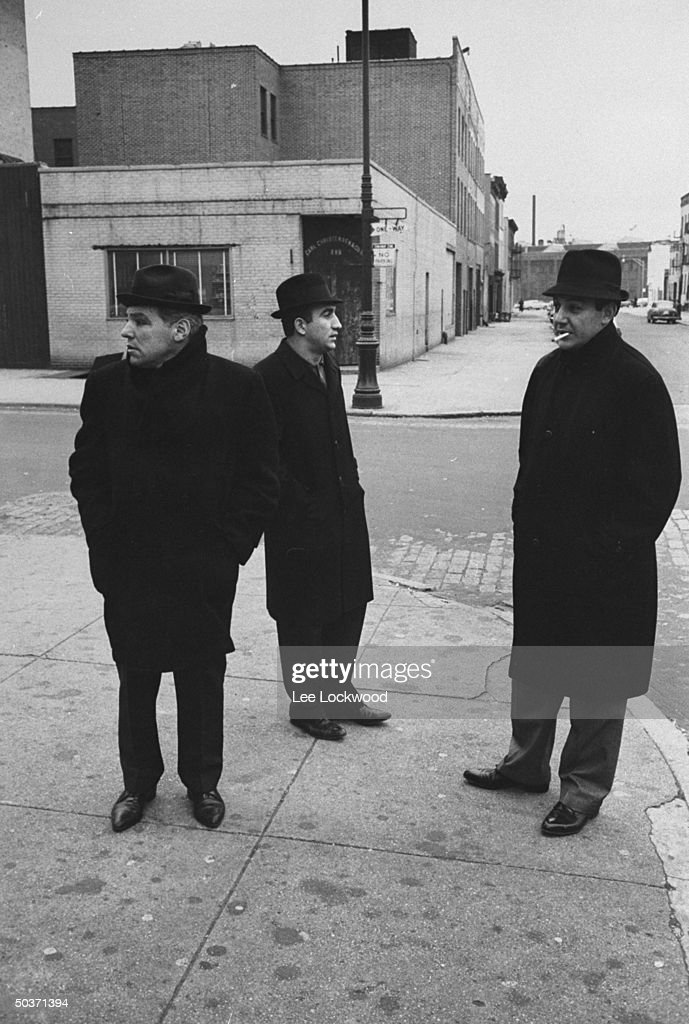 Three unident. Gallo Gang mobsters hanging out on corner in South Brooklyn.