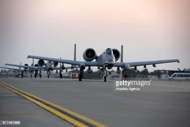 Three US Air Force A10 Thunderbolt IIs are seen at Incirlik 39th Air Base Wing's flight line in Adana Turkey on July 18 2017 Three A10 Thunderbolt...