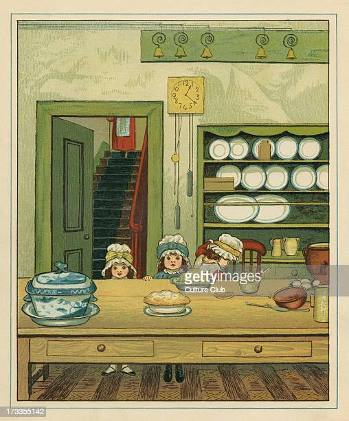 Three Victorian sisters at a dining table in a kitchen The two younger sisters are seated before a jelly dish and the eldist climbs onto a chair An...