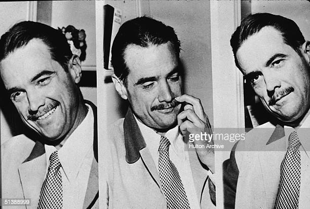 Three views of American industrialist aviator and film producer Howard Hughes as he speaks with journalists during a Seanate hearing to determine...