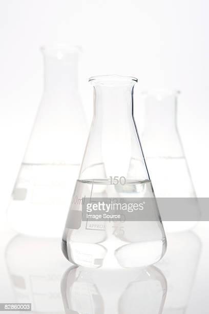 Three volumetric flasks