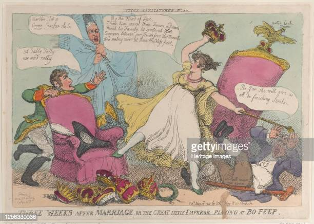 Three Weeks After Marriage, or the Great Little Emperor Playing at Bo-Peep, May 15, 1810. Artist Thomas Rowlandson.