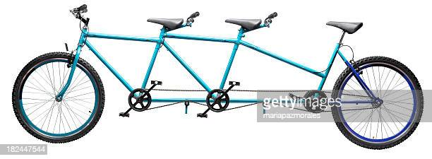 three wheel tandem bicycle - three objects stock pictures, royalty-free photos & images