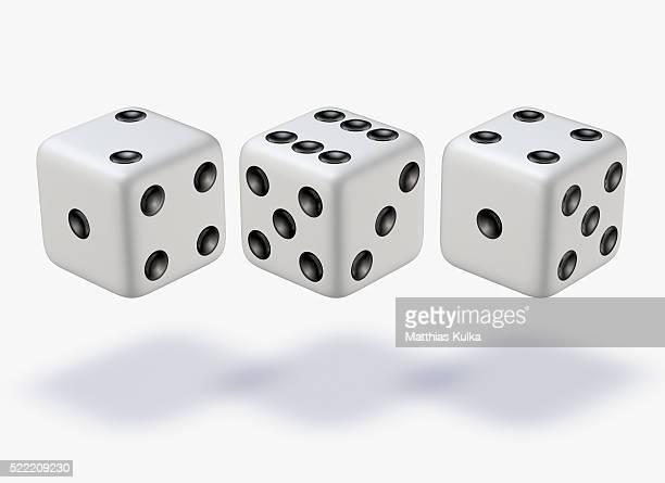 Three white dice