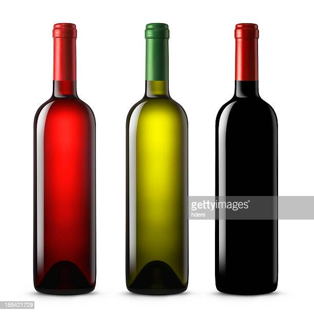 three wine bottles in various colors on a white background - fles stockfoto's en -beelden