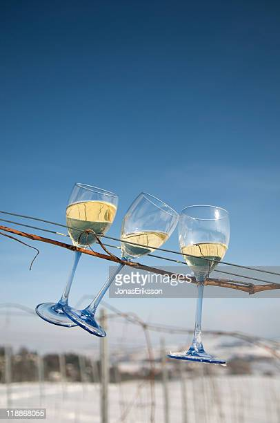 Three Wine Glasses in Winter on a line