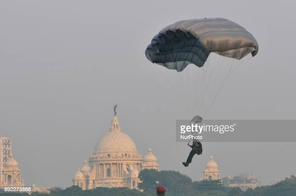 Three wings of the Indian Armed Forces show their skills to mark the 46th anniversary of Vijay Diwas at RCTC Ground on December 14 2017 in Kolkata...