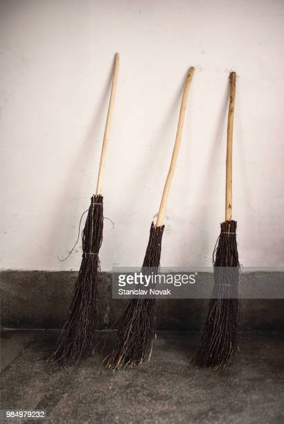 three witches - broom stock pictures, royalty-free photos & images