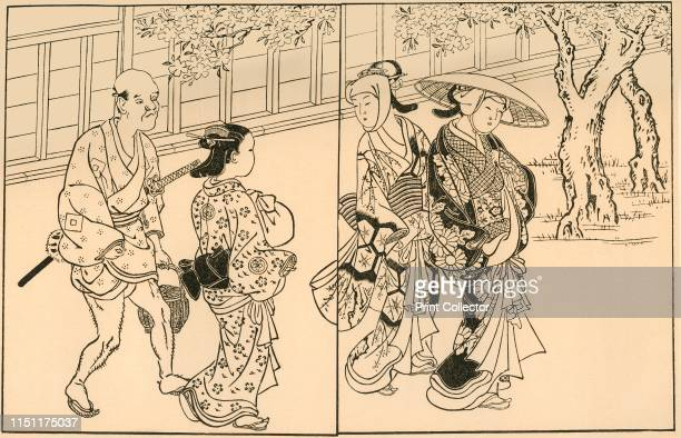 Three women and male servant From Ehon TokiwaGusa by Nishikawa Sukenobu [1730] Published in Block Printing Book Illustration in Japan by Louise...