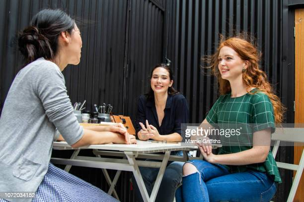 Three women at a cafe