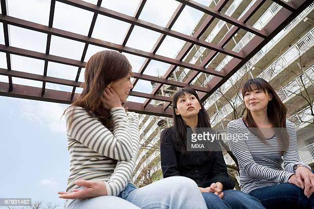 Three women chatting at park
