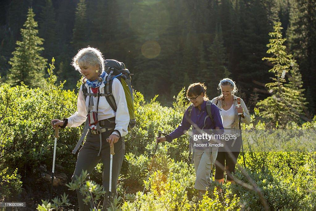 Three women hike through mountain meadow : Stock Photo