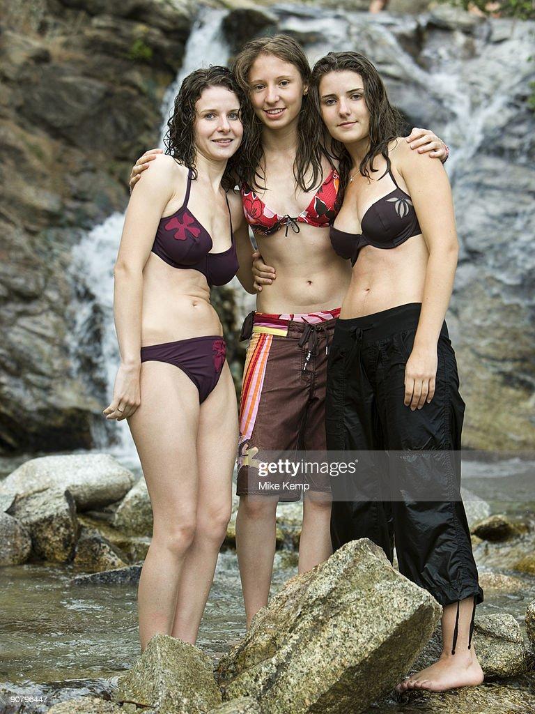 three women in swimsuits : Stock Photo