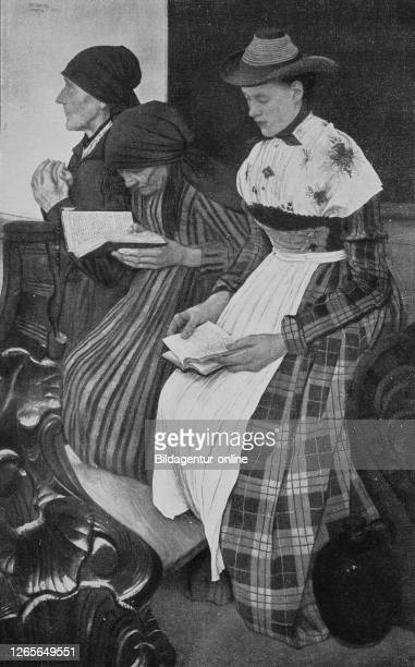 three women in the church sitting an praying and reading the bible situation in Germany in the year 1880 / Drei Frauen in der Kirche die beten und...