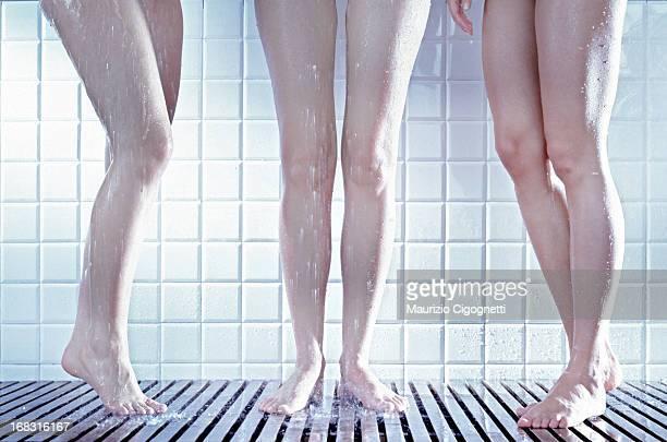 Three women in the shower