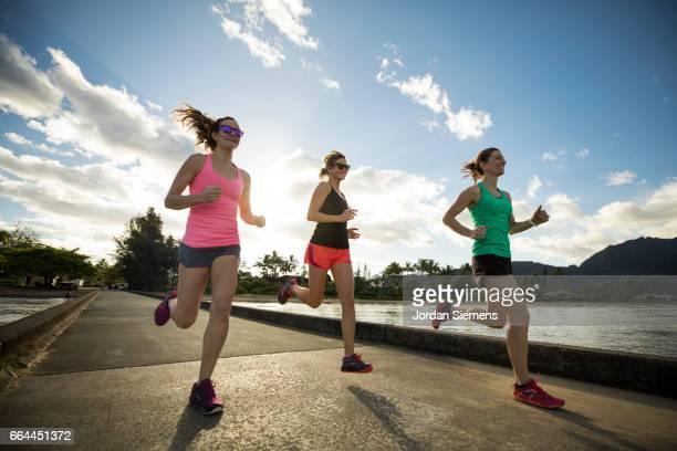 Three women jogging
