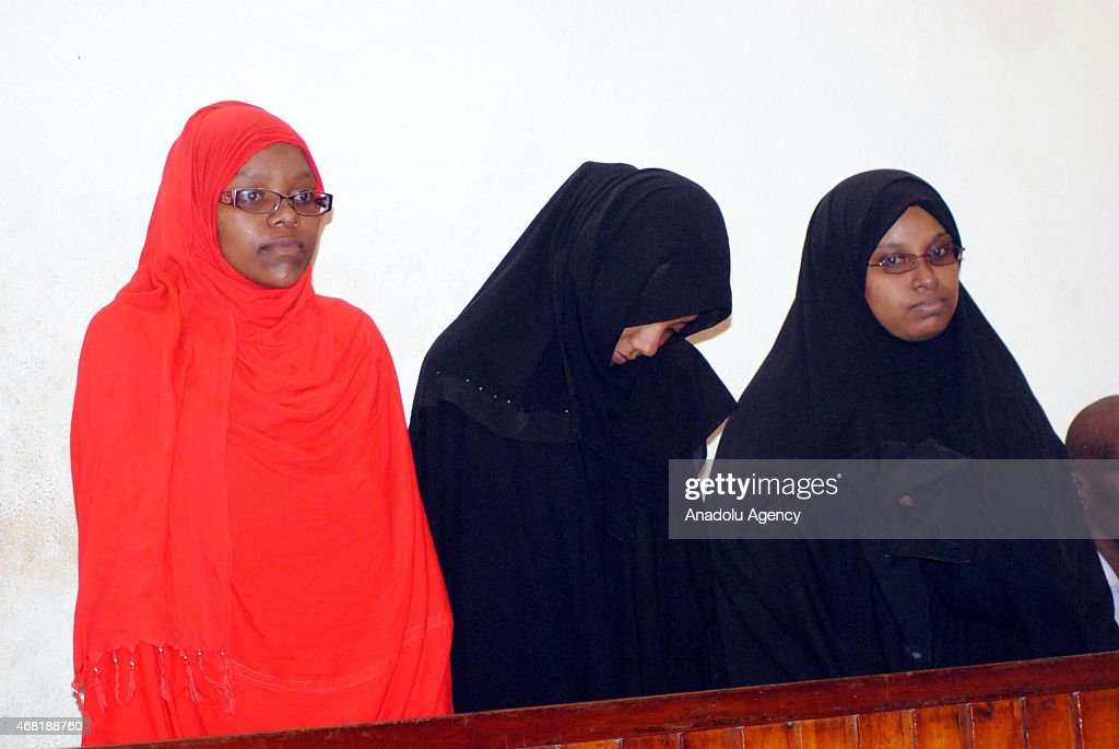 Three women on Monday were brought before a court in Kenya's coastal city of Mombasa on March 30, 2015 after having been arrested by security forces at the border with Somalia for allegedly planning to travel to Syria. The three young women, one Tanzanian and two Kenyans, were arrested on Saturday near El Wak, a Kenyan town less than 10km from the Somali border.