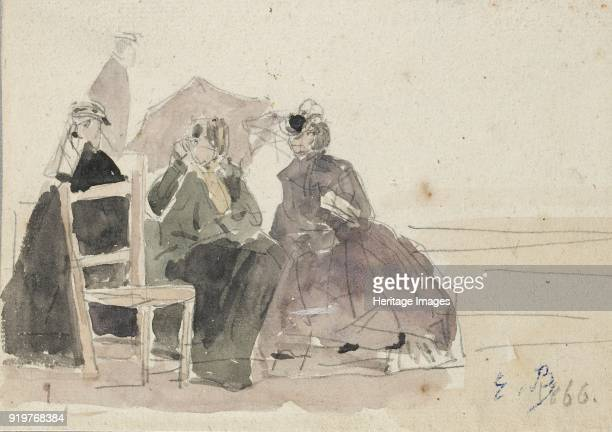 Three Women seated on Chairs on a Beach late 19th century Artist Eugene Louis Boudin