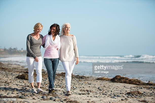 Three women strolling on a beach.