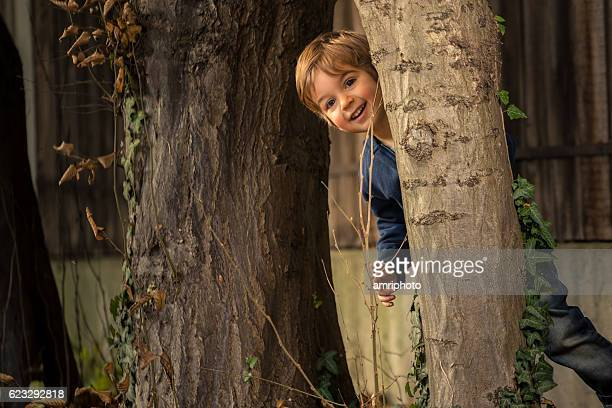 three year old boy playing hide and seek behind tree