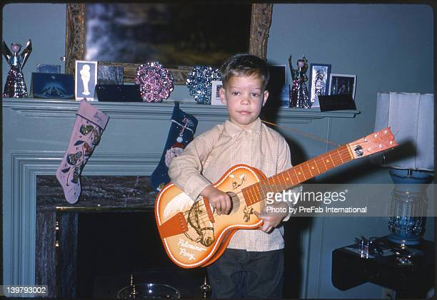 Three Year Old Boy With His First Guitar 1961