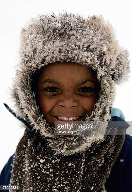 Three year old Jerome Graham enjoying the snow in Abington Park as heavy snowfall sweeps across the country on February 8 in Northampton United...