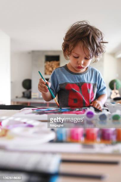 three years little boy doing painting - 2 3 years stock pictures, royalty-free photos & images