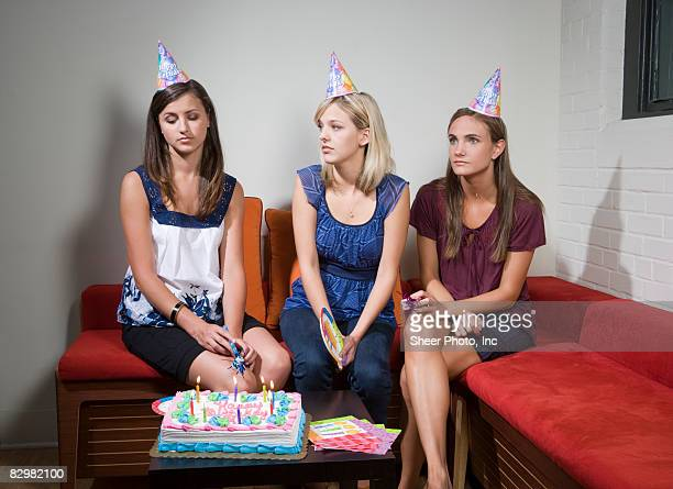 Three Yound Women At Birthday Party