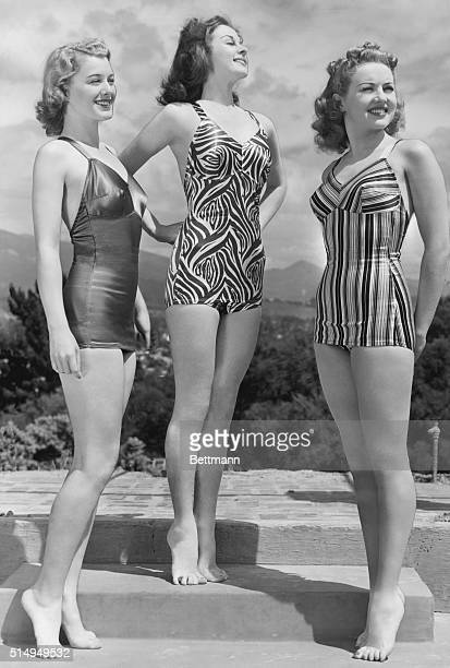 Three young actresses from Paramount Studios vacation in Santa Barbara they are left to right Ellen Drew Susan Hayward and Betty Grable
