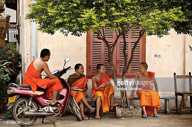 Three young Buddhist monks are sitting on the bench under the green tree talking and an older one is sitting on the pink motorbike on the nice beige...
