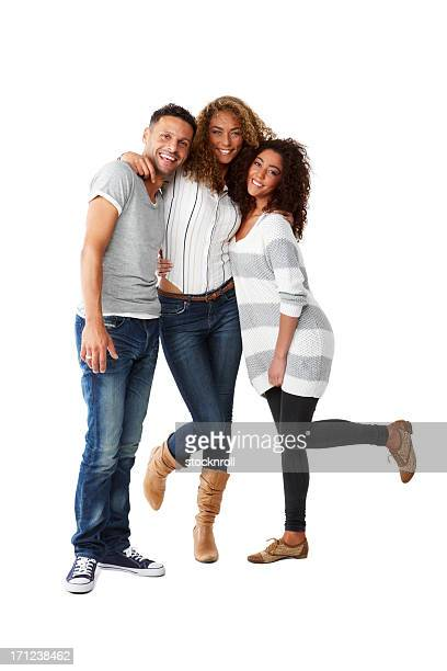 three young friends having fun - three stock pictures, royalty-free photos & images