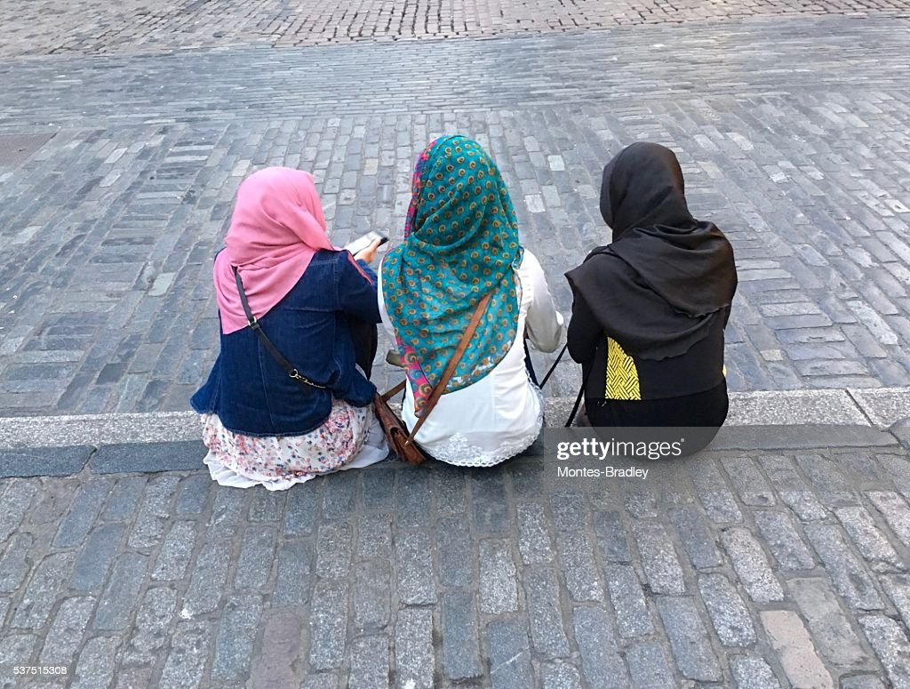 Three young muslim girls : Stock Photo