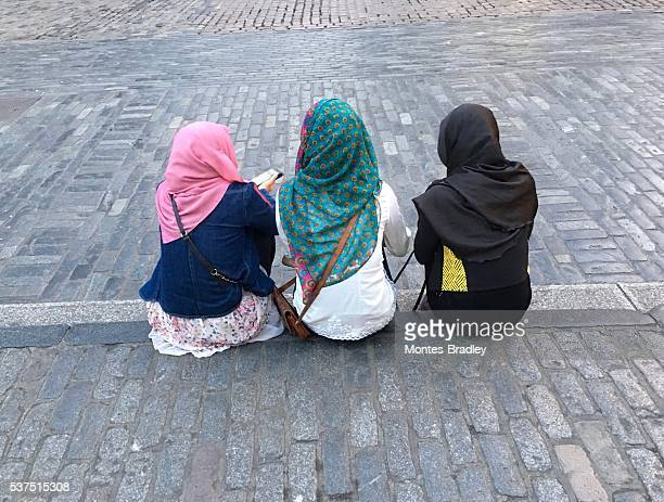 Three young muslim girls