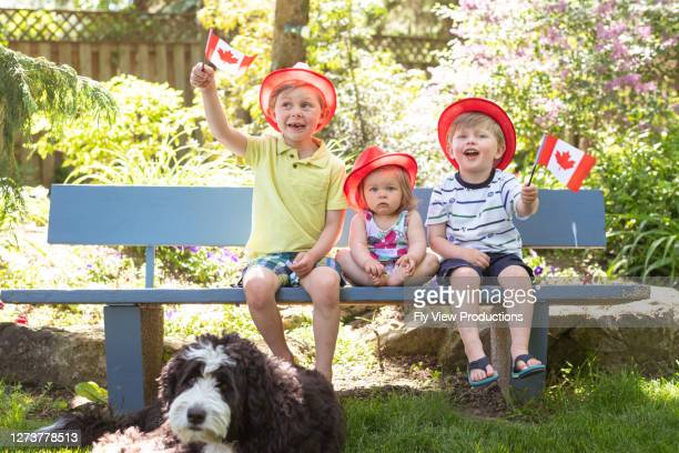 three young siblings sit on a park bench and wave canadian flags - canada day stock pictures, royalty-free photos & images
