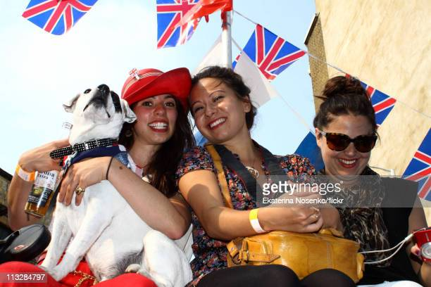 Three young women attend the Leonard Street Royal Wedding Party, during the Royal Wedding of Prince William to Catherine Middleton at Westminster...