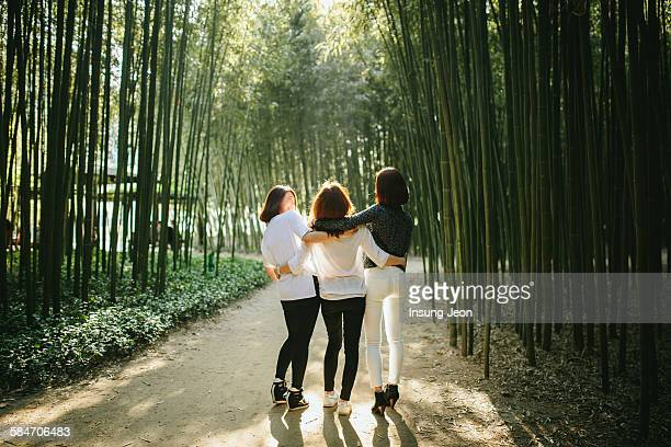 three young women enjoying in park - local landmark stock pictures, royalty-free photos & images