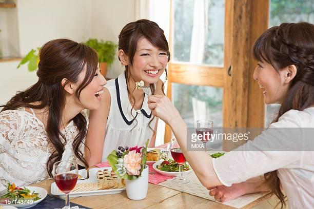 Three Young Women Enjoying Party