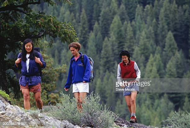 Three young women hiking up hill in mountain area